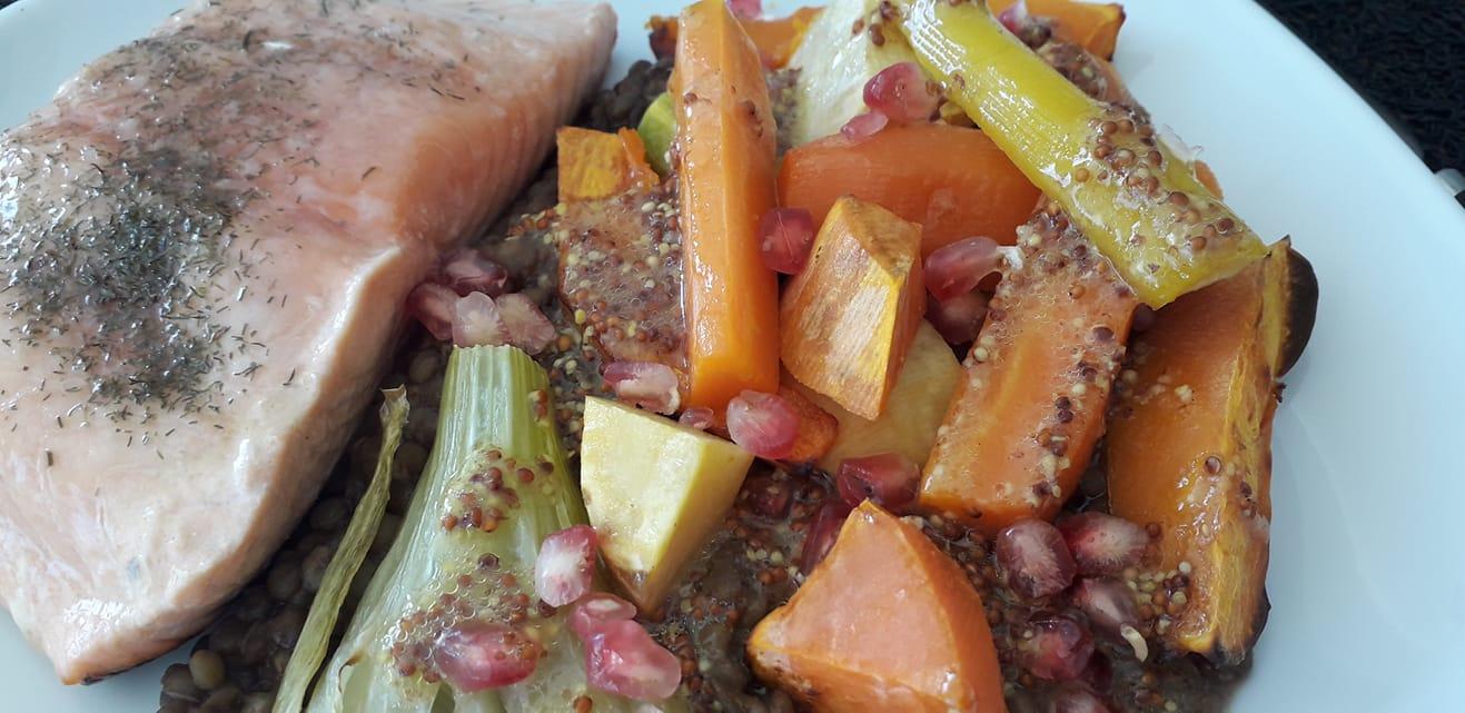 Salade de lentilles aux légumes rôtis